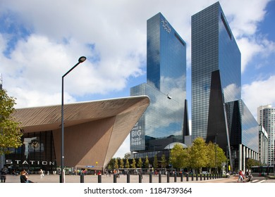 Rotterdam, Netherlands – September 20, 2018: Central station Rotterdam with office buildings in the background