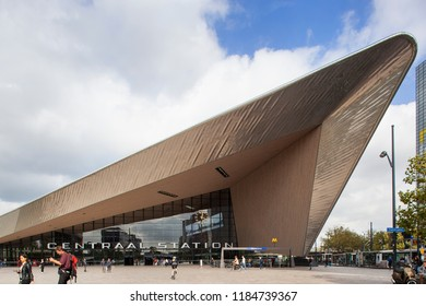 Rotterdam, Netherlands – September 20, 2018: Central station Rotterdam with some people walking on the square
