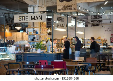 Rotterdam, Netherlands, September 2019: People queuing at Stielman coffee stall in Fenix Food Factory