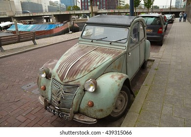 ROTTERDAM, THE NETHERLANDS - SEPTEMBER 21: Classic car, Citroen 2CV parked on the street. The 2CV was a popular small car built from 1948 to 1990.