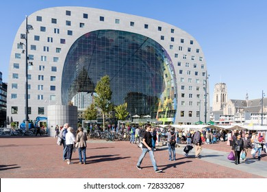 ROTTERDAM, NETHERLANDS - September 23, 2017: The Markthal (Market Hall), a residential and office building with a market hall underneath. It was designed by architectural firm MVRDV.