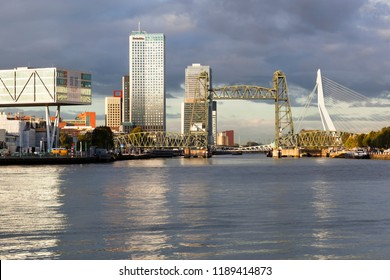 Rotterdam, Netherlands – September 25, 2018: Skyline of the Rotterdam south side with the Unilever building on the left, bridge De Hef in the middle and the Erasmus bridge on the right