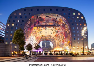 Rotterdam, Netherlands – September 26, 2018: Exterior at twilight of the famous markthal or market hall in Rotterdam