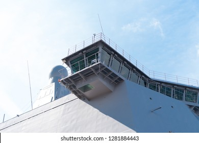 ROTTERDAM, NETHERLANDS - SEPTEMBER 3, 2017: Detail of the Karel Doorman, a dutch multi-function support ship for amphibious operations of the Royal Netherlands Navy