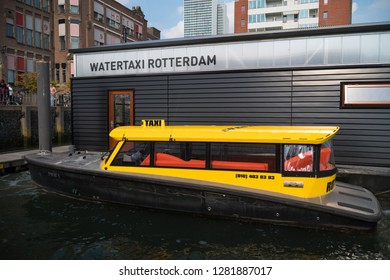 ROTTERDAM, NETHERLANDS - SEPTEMBER 3, 2017: Water taxi pick-up point in Rotterdam. With about 50 departure locations it offers an often faster option for transportation within and outside the city