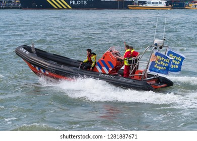 ROTTERDAM, NETHERLANDS - SEPTEMBER 3, 2017: Lifeboat demonstration at the Rotterdam port days