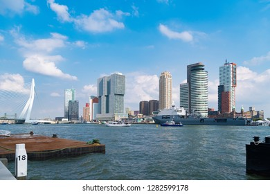 ROTTERDAM, NETHERLANDS - SEPTEMBER 3, 2017: modern skyline on a sunny day seen from the Maas river.