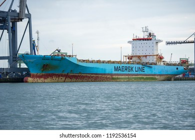 ROTTERDAM, THE NETHERLANDS - September 5, 2017: MAERSK ship PEMBROKE in Rotterdam harbor. MAERSK PEMBROKE is a Container Ship built in 1998 and currently sailing under the flag of Netherlands.