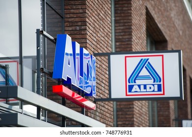 ROTTERDAM, THE NETHERLANDS - September 6, 2017: Aldi Food Market Logo. Aldi is the common brand of two leading global discount supermarket chains with over 10,000 stores in 18 countries.