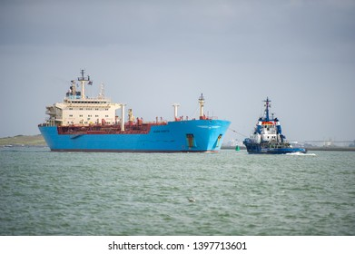ROTTERDAM, THE NETHERLANDS - September 7, 2017: MAERSK ship ROSYTH in Rotterdam harbor. MAERSK ROSYTH is a chemical/oil products tanker built in 2003 and currently sailing under the flag of Denmark.