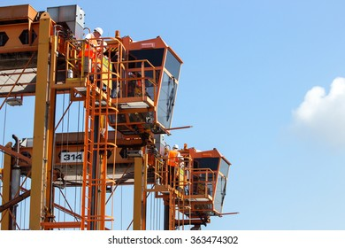 ROTTERDAM, NETHERLANDS - SEPTEMBER 8, 2013: Straddle carriers used for moving around containers in the Port of Rotterdam.