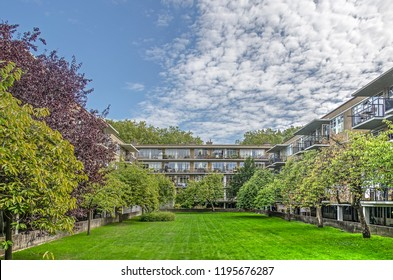 Rotterdam, The Netherlands, September 9, 2018: view of the interior garden of residential complex De Eendracht, national monument from the 1930's by architect J.H. van den Broek