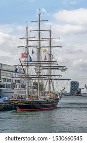 Rotterdam, The Netherlands, September 9, 2019: historic three-master sailing ship Stad Amsterdam moored at the quay in Katendrecht during the World Port Days festival