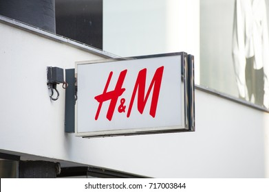 ROTTERDAM, NETHERLANDS-SEP 6, 2017: H&M Store Sign. H&M Hennes & Mauritz AB is a Swedish multinational retail-clothing company. H&M has over 3,700 stores and as of 2015 employed around 132,000 people.