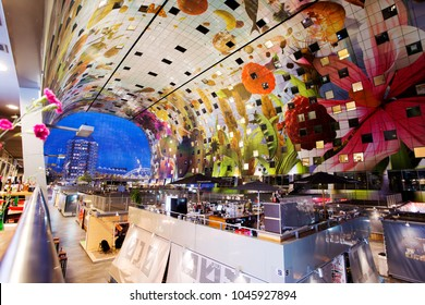 Rotterdam, Nethrelands, Europe; September 17, 2017. The Markthal is a residential and office building with a market hall underneath, located in Rotterdam. The building was opened on October 1, 2014.
