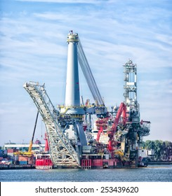 ROTTERDAM - OCTOBER 4, 2014: Heavy lift vessel Seven Borealis, designed for platform installation and removal, deck installation, spar deck installation, mooring installation and subsea installation.
