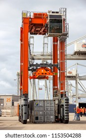 ROTTERDAM - SEP 6, 2015: Straddle carrier used for moving containers in a container terminal in the Port of Rotterdam