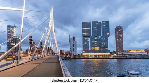 Rotterdam skyline. Beautiful view after sunset.