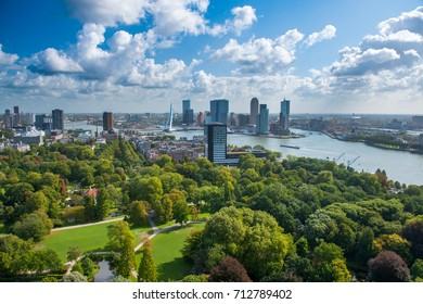 Rotterdam skyline with Erasmus bridge. Aerial view of Rotterdam, The Netherlands, Holland. A major logistic and economic centre, Rotterdam is Europe's largest port and has a population of 633,471.