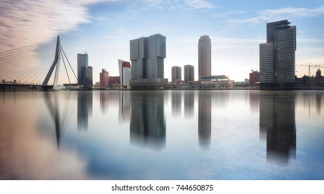 Rotterdam Skyline with Erasmusbrug bridge, Netherlands.