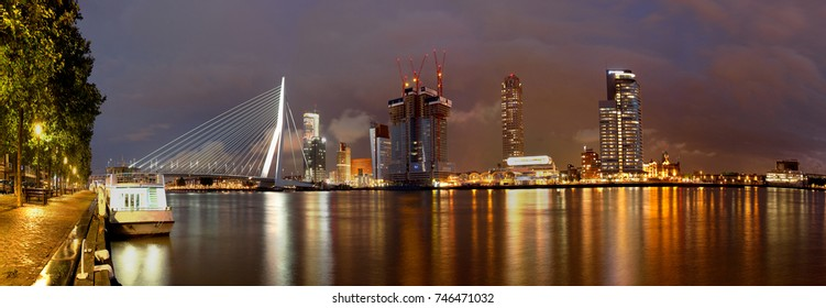 rotterdam skyline panoramic images, stock photos & vectors