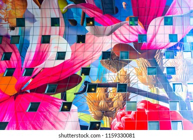 Rotterdam, South Holland / Netherlands - April 14 2017: Nature floral themed ceiling interior design of Markthal Market Hall in Rotterdam , Netherlands