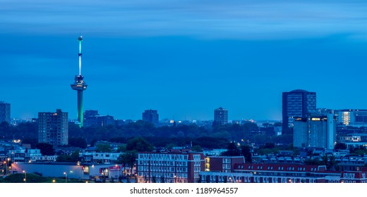 ROTTERDAM, SOUTH HOLLAND, THE NETHERLANDS - AUGUST 03, 2017: Skyline with Euromast at twilight.