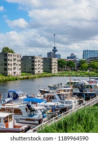 ROTTERDAM, SOUTH HOLLAND, THE NETHERLANDS - AUGUST 03, 2017: Middenkous Port in Delfshaven.
