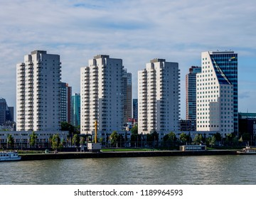 ROTTERDAM, SOUTH HOLLAND, THE NETHERLANDS - AUGUST 01, 2017: New Meuse River and City Skyline.