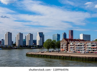ROTTERDAM, SOUTH HOLLAND, THE NETHERLANDS - AUGUST 01, 2017: View over the Noordereiland towards City Center.