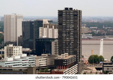 Rotterdam, South Holland,Netherlands,june 2015: bird-view over the city of Rotterdam