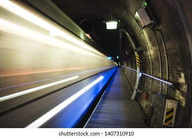 Rotterdam subway metro lighttrail lights holland
