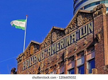 rotterdam, zuid holland/netherlands - february 02, 2016:  front facade of the historic  hotel new york building, the former head office building  of holland-america line
