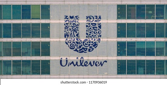 rotterdam, zuid holland/netherlands - july 25, 2018: the glass window facade of unilever office at nassaukade