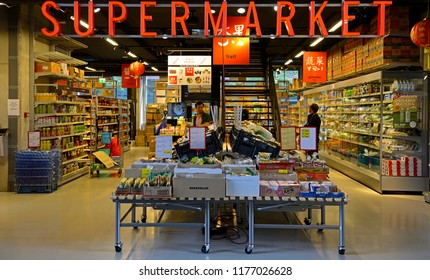 rotterdam, zuid holland/netherlands - september 07, 2018: asian supermarket in rotterdam city centre market hall (markthal)