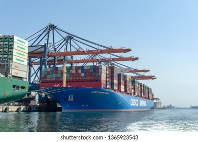 Rotterdam, Zuid-Holland / the Netherlands - August 7 2018: Euromax Terminal container ship Cosco Shipping Taurus being unloaded in the Prinses Amalia Haven, Maasvlakte 2