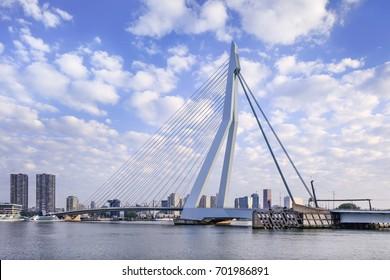 ROTTERDAM-AUGUSTUS 14, 2017. The Erasmus Bridge at dawn. The 284m long bridge was designed by Ben van Berkel (UNStudio) and connects Kop van Zuid with the city center. It has the nick name The Swan.
