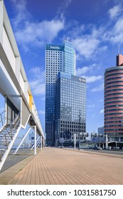 ROTTERDAM-FEB. 6, 2018. Modern office buildings at Kop van Zuid, built on old abandoned port areas. This relatively new area on the south bank of the Maas is well-known for of its iconic architecture.