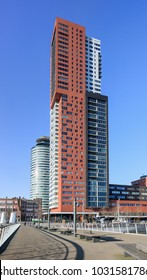 ROTTERDAM-FEB. 7, 2018. Montevideo tower, the highest residential tower of the Netherlands at Kop van Zuid, a new area on the south bank of the Maas which is well-known for its iconic architecture.