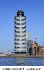ROTTERDAM-FEBRUARY 13, 2018. World Port center, designed by Sir Norman Foster. It stand at the Kop van Zuid, a relatively new built on old abandoned port areas, well-known for its iconic architecture.