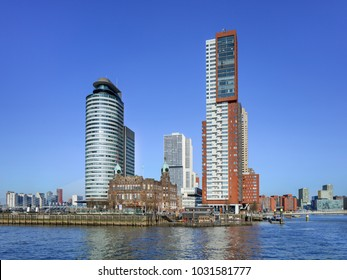 ROTTERDAM-FEBRUARY 7, 2018. Hotel New York, Montevideo tower and world Port at Kop van Zuid, a relatively new area on the south bank of the Maas which is well-known for of its iconic architecture.
