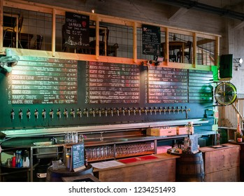 Rotterdam,Holland,14-nov-2018:a bar or  beer room with a huge amount of beer on tap,this bar has the largest amount of beer in Rotterdam
