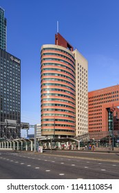 ROTTERDAM-JULY 19. 6, 2018. View on Wilhelmina tower. The tower building dates from 1997 and is a multi-tenant building of 16,200 m2 of office space and 185 parking spaces located at Kop van Zuid.
