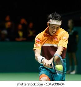 ROTTERDAM/NETHERLANDS - 02 16 2019: Kei Nishikori famous young Japanese Tennisplayer during a match at the ATP 500 ABN AMRO World Tennis Tournament