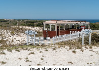 ROTTNEST ISLAND, AUSTRALIA - JANUARY 22, 2018: Train station on the Oliver hill lookout with scenic view over the Rottnest Island on January 22, 2018 in Western Australia