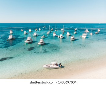 Rottnest Island, Perth, Western Australia - November 10th, 2018: Rottnest Island with its vibrant blue waters perfect for snorkelling, swimming and riding by. Like paradise on earth, untouched nature.