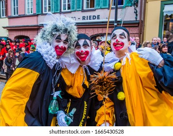 ROTTWEIL , GERMANY - FEB 24 : Participants in the Rottweil Carnival in Rottweil , Germany on February 24 2020.  The carnival known as Fasnacht is a custom in southwest Germany