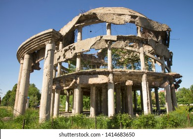 Rotunda - hospital building destroyed during war in Voronezh. Russia
