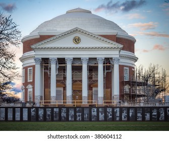 The Rotunda -- near completion of a multi-year renovation project. Located in Charlottesville, VA at the University of Virginia