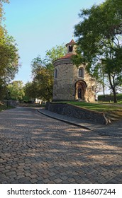 """Rotunda of saint Martin in Vysehrad (""""Upper Castle""""), summer morning view. The Oldest and the biggest rotunda in Prague. Czech Republic."""